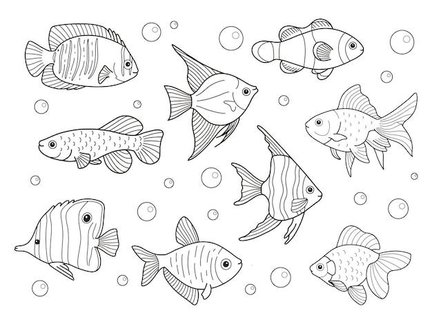 Desenhos para colorir com contornos de peixes para impressão