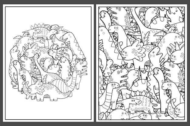 Desenhos para colorir com dinossauros fofos