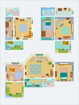 Desenhos para o layout do apartamento. fotos de vista superior da cozinha, banheiro e sala de estar. plano da ilustração do interior do prédio de apartamentos