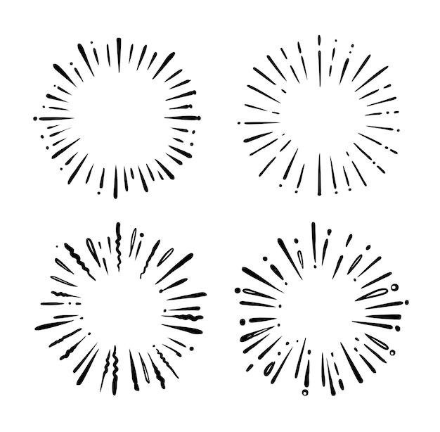 Desenhos retrô starbursts.