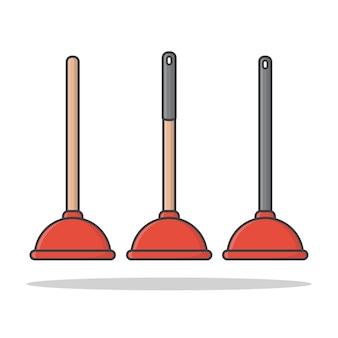Desentupidor . êmbolo de borracha para limpeza de banheiro. plano de êmbolo de vaso sanitário vermelho