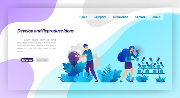 Desenvolva e reproduza idéias. estacione com plantas da ampola. trabalho em equipe, colheita e carinho de idéia. modelo de página da página de destino