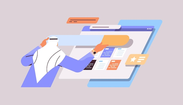 Desenvolvedor árabe criando website interface interface do usuário programa de desenvolvimento de aplicativo da web conceito de otimização de software horizontal retrato vetorial ilustração