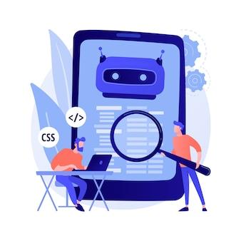 Desenvolvedor de java. software de smartphone. codificação javascript, aplicação de escrita, programação css. adulteração de código-fonte html. programa móvel. ilustração em vetor conceito metáfora isolado.