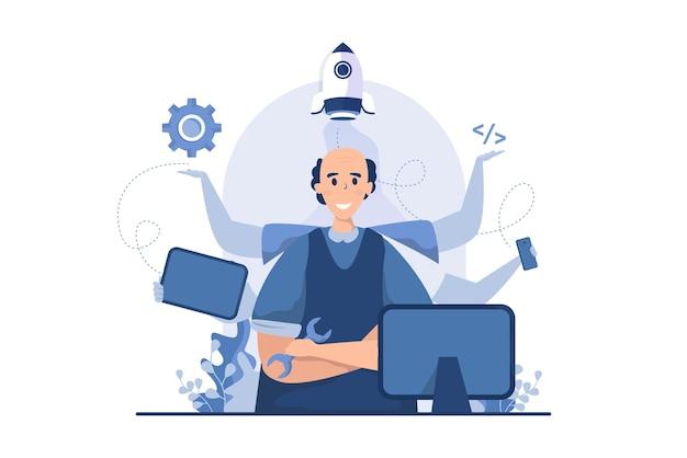 Desenvolvedor de software com conceito de ilustração vetorial multitarefa