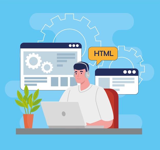 Desenvolvedor de software programando em laptop com símbolos de código