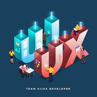 Desenvolvedor de trabalho em equipe ui / ux