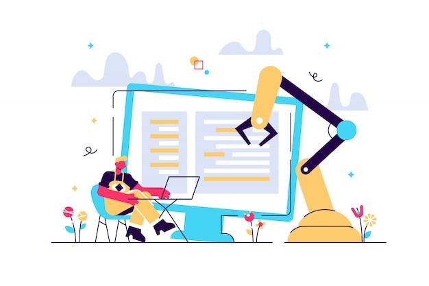 Desenvolvedor em laptop e computador com soft robótico aberto. arquitetura de automação aberta, conceito de desenvolvimento livre e de robótica de código aberto. ilustração isolada violeta vibrante brilhante