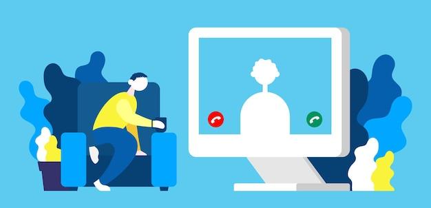 Desenvolvedor freelance conversando com colegas de videoconferência para reuniões de trabalho online e virtuais