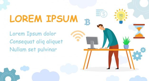 Desenvolvedor, modelo de banner da web de vaga de programador