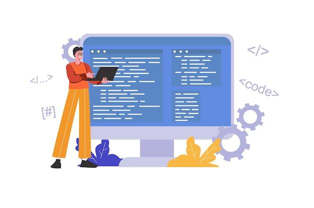 Desenvolvedor programando e escrevendo código usando laptop. programador trabalha, otimiza e testa programa, cena de pessoas isolada. conceito de desenvolvimento de software. ilustração vetorial em design plano minimalista
