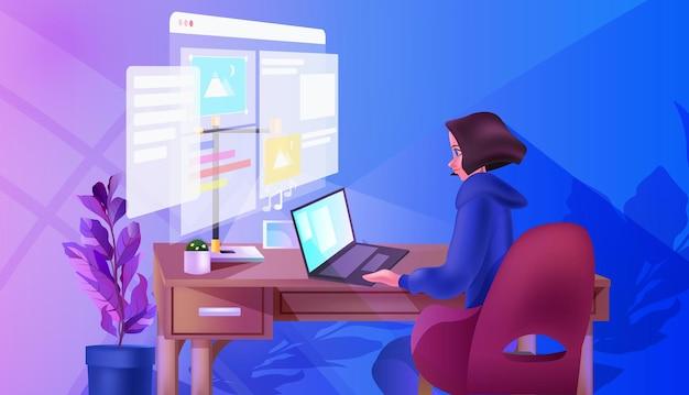 Desenvolvedor sobrecarregado criando website ui programa de desenvolvimento de aplicativos da web conceito de otimização de software ilustração vetorial horizontal