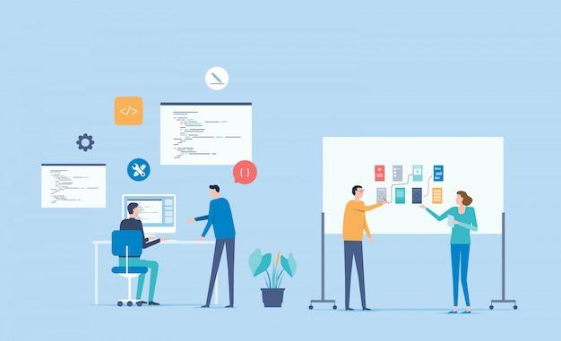 Desenvolvedor web e conceito de trabalho de equipe de desenvolvimento