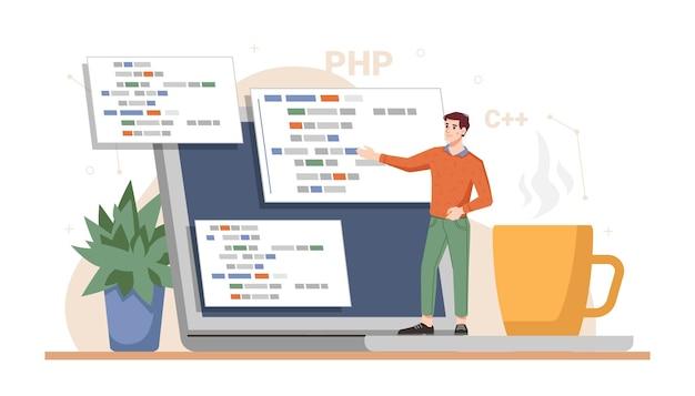Desenvolvedor web trabalhando na apresentação do projeto, programação do site pronta e codificação usando laptops