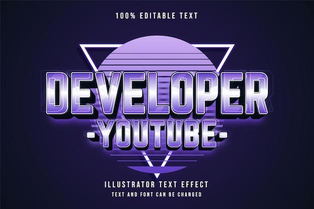 Desenvolvedor youtube, efeito de texto editável em 3d gradação azul e estilo de texto neon roxo
