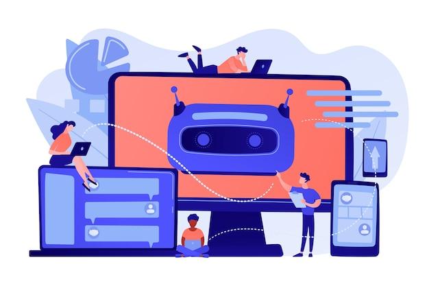 Desenvolvedores construindo, testando e implantando chatbots em plataformas. plataforma de chatbot, desenvolvimento de assistente virtual, conceito de chatbot multiplataforma