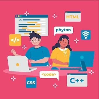 Desenvolvedores da web desenhados à mão trabalhando