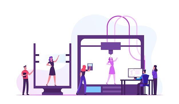 Desenvolvedores e engenheiros usando impressora 3d para criação de modelo de mulher viva em laboratório. ilustração plana dos desenhos animados