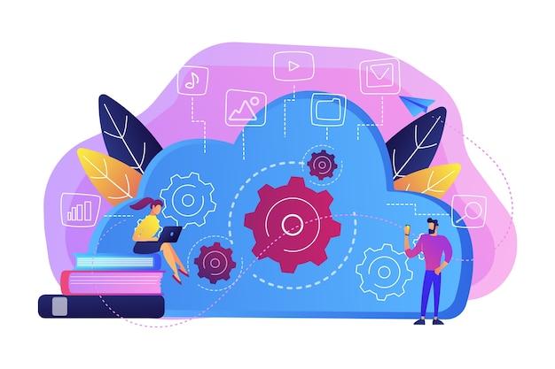Desenvolvedores que usam laptop e smartphone trabalhando com ilustração de dados em nuvem