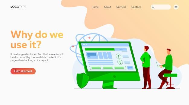 Desenvolvedores testando o modelo da página de destino do software
