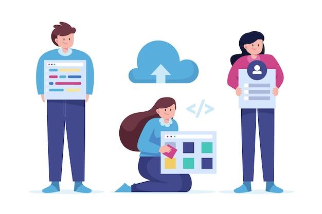 Desenvolvedores web desenhados à mão