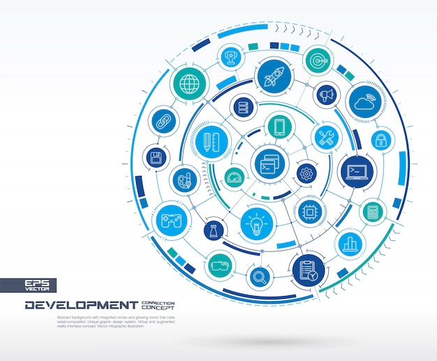 Desenvolvimento abstrato, fundo de programação. sistema de conexão digital com círculos integrados, ícones de linha brilhantes. grupo de sistemas de rede, conceito de interface. futura ilustração infográfico