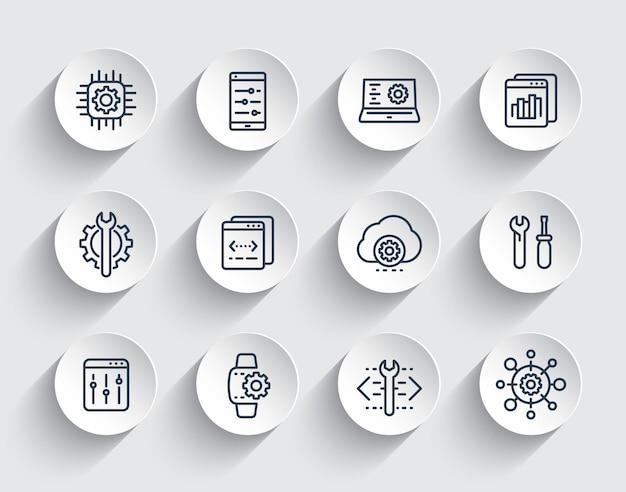 Desenvolvimento, configuração, engenharia, configurações, conjunto de ícones de linha de serviço de reparo