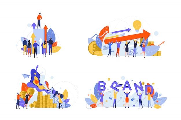 Desenvolvimento da marca, inicialização, marketing, lucro, conceito de conjunto de negócios