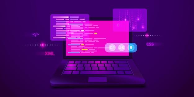 Desenvolvimento da web, codificação e programação de código de computador de banner futurístico no laptop