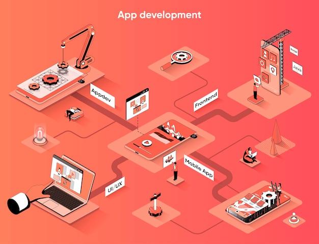 Desenvolvimento de aplicativo isométrico web banner isometria plana