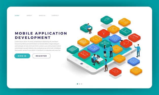 Desenvolvimento de aplicativo móvel conceito de design plano de site de design mock-up com codificação de desenvolvedor