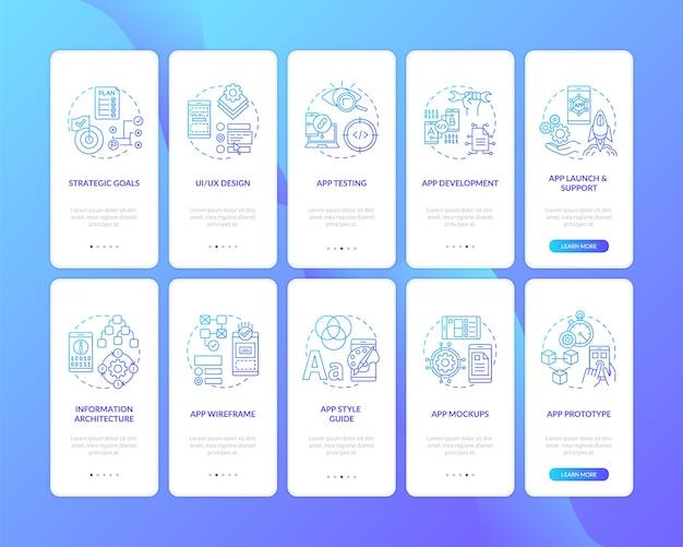 Desenvolvimento de aplicativo móvel na tela de página de aplicativo móvel de embarque com o conjunto de conceitos.