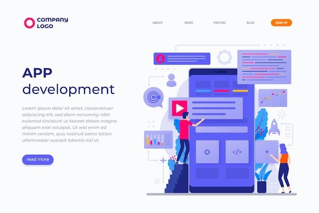 Desenvolvimento de aplicativo na página de destino do smartphone
