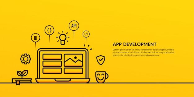 Desenvolvimento de aplicativos com banner de elemento de estrutura de tópicos