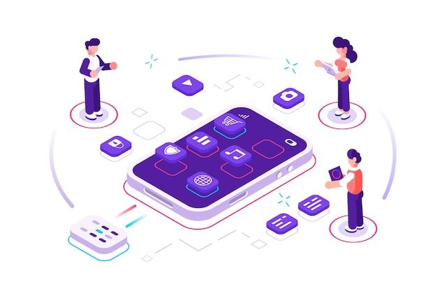Desenvolvimento de aplicativos com ilustração de codificação para desenvolvedores