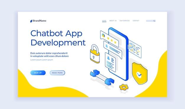 Desenvolvimento de aplicativos do chatbot. modelo de página de destino. ilustração em vetor isométrica de smartphone com chatbot contemporâneo e símbolos de desenvolvimento no banner da web moderna. banner isométrico da web