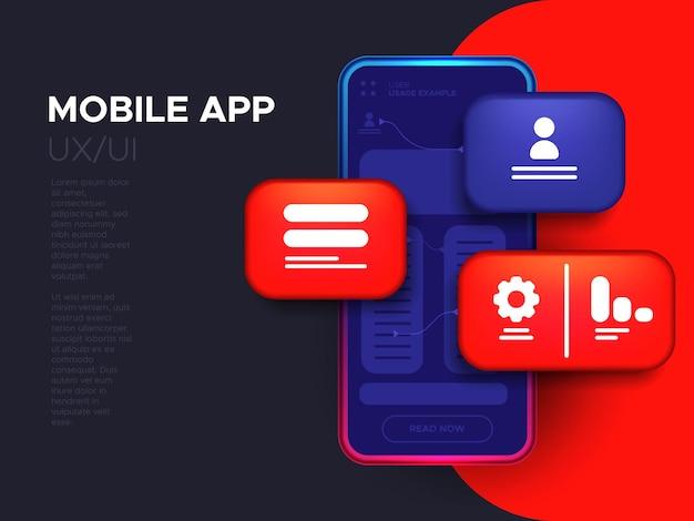 Desenvolvimento de aplicativos móveis e. conceito de design de interface de usuário ui / ux.