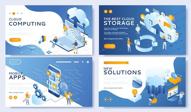 Desenvolvimento de aplicativos móveis e soluções inovadoras. definido para cloud computing, cloud storage.