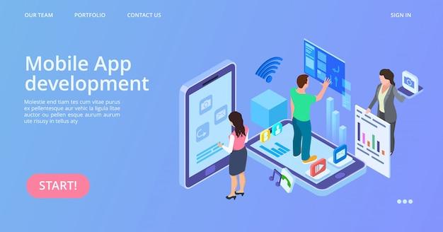 Desenvolvimento de aplicativos móveis. página inicial do vetor de desenvolvimento de interface isométrica