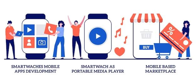 Desenvolvimento de aplicativos móveis smartwatches, reprodutor de mídia portátil, conceito de mercado baseado em dispositivos móveis com pessoas minúsculas. conjunto de dispositivos vestíveis. equipe de desenvolvimento, metáfora de compra de aplicativo no e-shop.