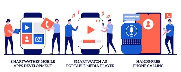 Desenvolvimento de aplicativos móveis smartwatches, smartwatch como player de mídia portátil, conceito de chamada de telefone viva-voz com pessoas minúsculas. conjunto de ilustração abstrata de dispositivos vestíveis. chamadas de comando de voz.
