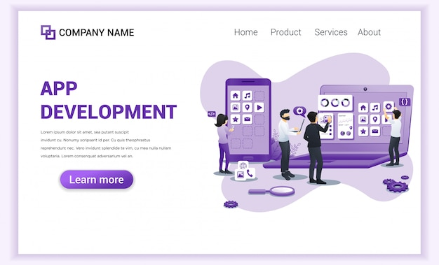 Desenvolvimento de aplicativos, página de destino dos programadores.