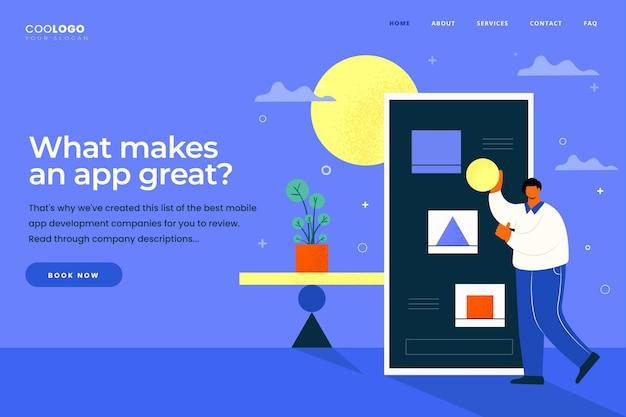Desenvolvimento de aplicativos - página de destino