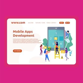 Desenvolvimento de aplicativos para celular no design da página de destino