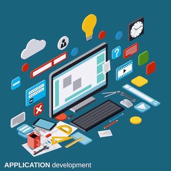 Desenvolvimento de aplicativos, processo de seo, otimização de algoritmo, ilustração do conceito de vetor isométrica 3d apartamento site construção