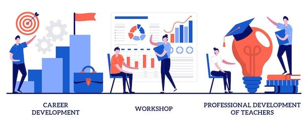 Desenvolvimento de carreira, workshop, desenvolvimento profissional de professores com pessoas minúsculas. novas habilidades ganham conjunto. conferência e seminário, mudança de carreira, sucesso no trabalho.