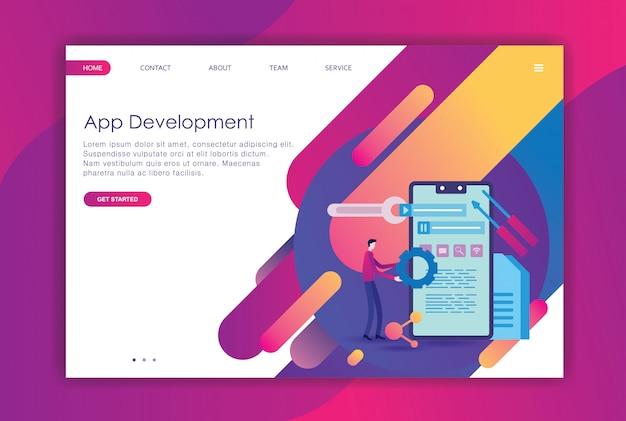 Desenvolvimento de design plano moderno da página de destino