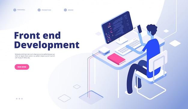 Desenvolvimento de front-end. a pessoa do programador desenvolvedor desenvolve a interface futurista do painel de controle do telefone do computador