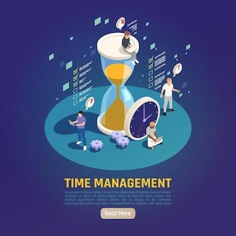 Desenvolvimento de habilidades de gerenciamento de tempo de crescimento pessoal, composição isométrica circular com ampulheta de relógio