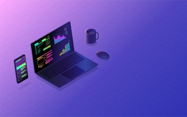 Desenvolvimento de interface de aplicativo móvel conceito de plataforma cruzada